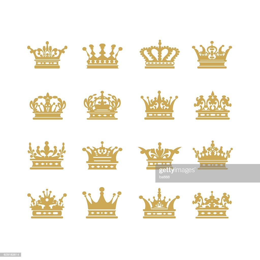 Gold crown set vector illustration
