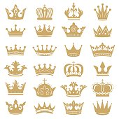 Gold crown silhouette. Royal crowns, coronation king and luxury queen tiara silhouettes icons vector set