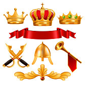 Gold Crown Vector. Golden King Royal Crown With Gems, Red Ribbon Velvet Textile, Swordm Helmet, Horn. Monarchy Power, Competition Winner. Certificate, Diploma Design. Isolated Realistic Illustration