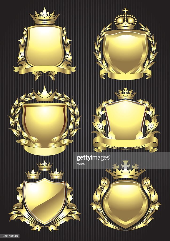 Gold crowned shield heraldry set