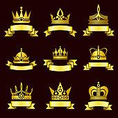 Gold crowns and ribbon banner vector set