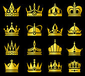 Gold crowns vector set