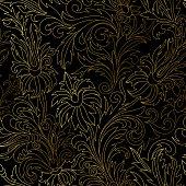 Gold damask ornaments seamless