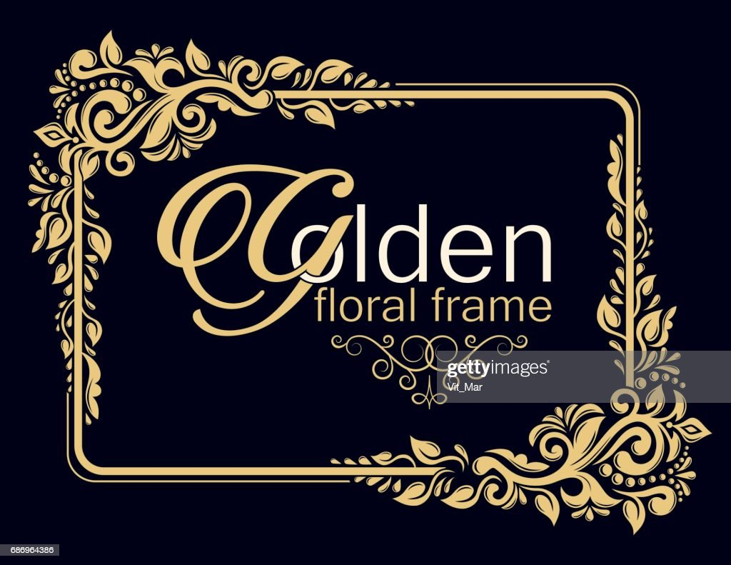 Gold decorative floral frame and monogram initials.