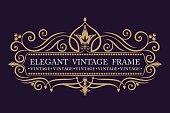 Gold decorative frame. Vector  templates. Monogram, initials, jewelry. Elegant emblem  for restaurants, hotels, bars and boutiques.