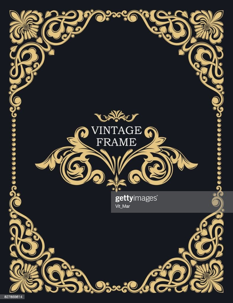 Gold decorative frame. Vector vintage templates. The past. Monogram,  jewelry.