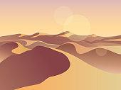 Gold desert in sunset. Sand dunes. Landscape design vector illustration. Middle East desert mountains sandstone background. Sand in nature