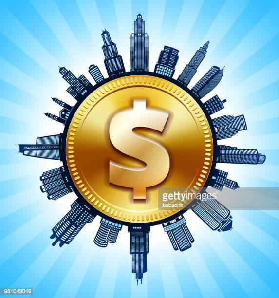 goldenen dollarzeichen schwarz-weiß stadtbild skyline hintergrund - stockwerk stock-grafiken, -clipart, -cartoons und -symbole