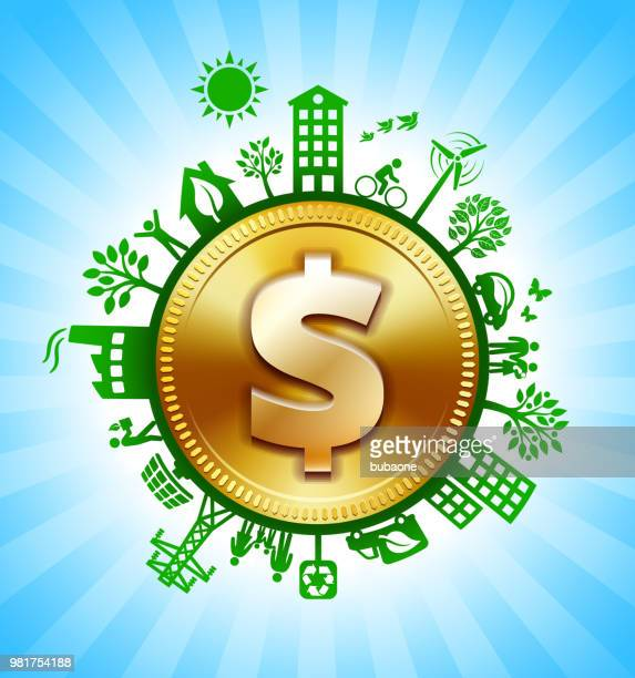 Gold Dollar Sign on Environmental Conservation Background