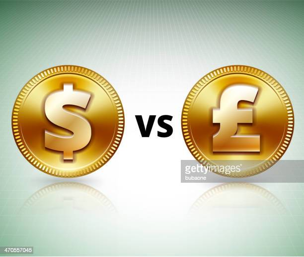 gold dollar vs pound coin on grid background - fiscal year stock illustrations