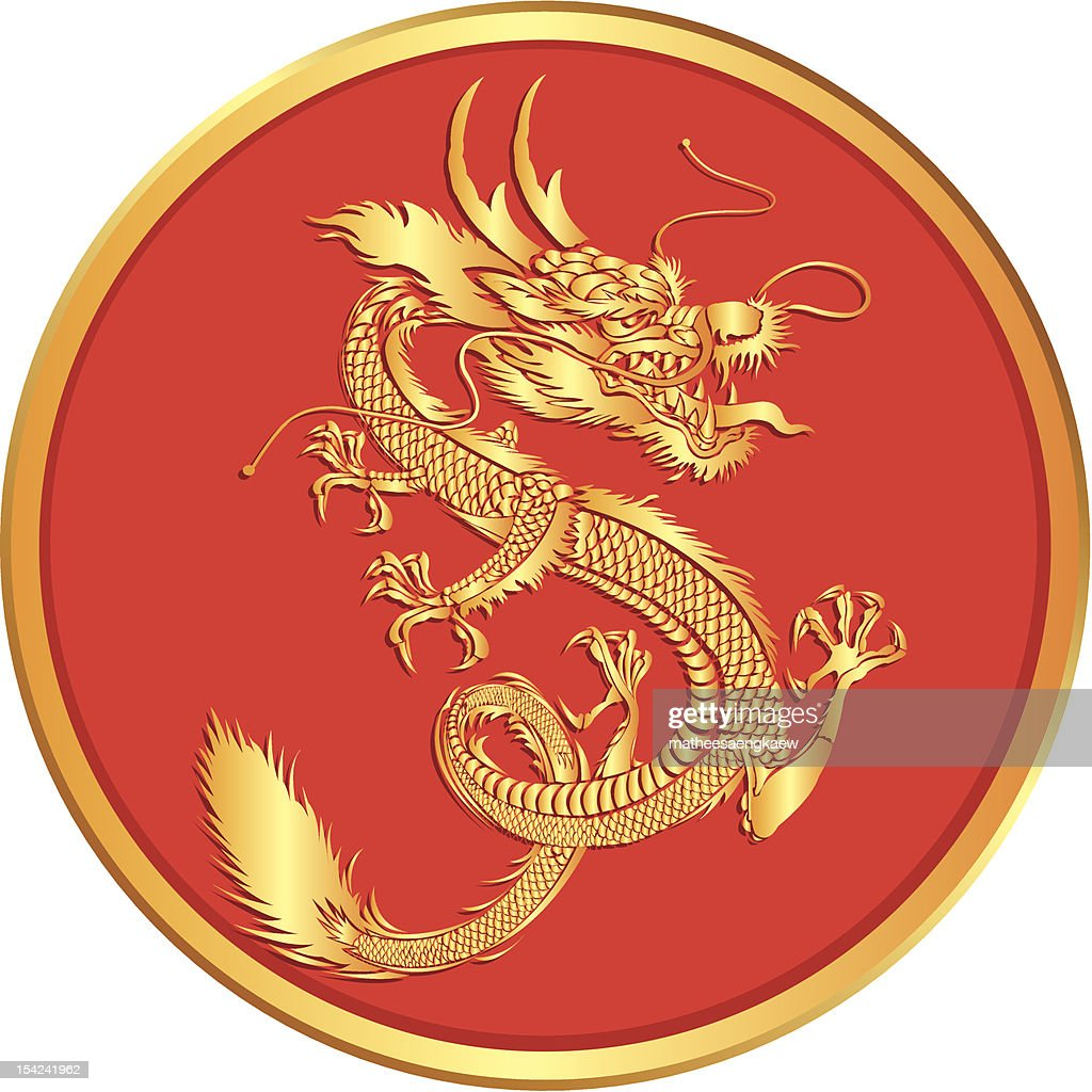 Gold dragons vector