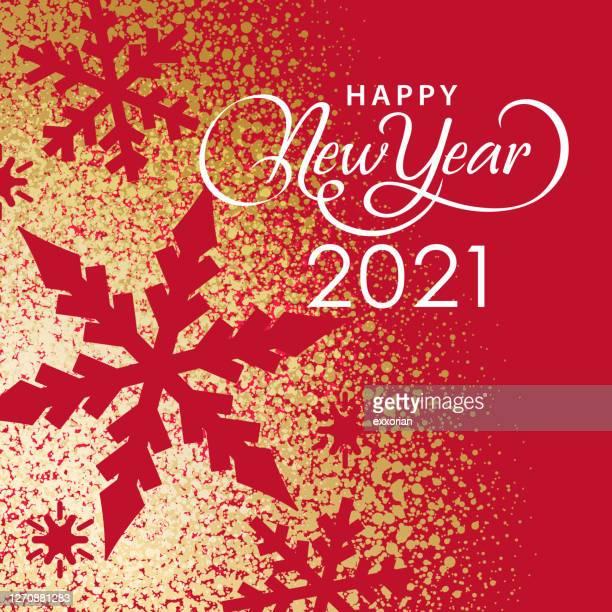 goldstaub 2021 neujahr schneeflocken - farbpulver stock-grafiken, -clipart, -cartoons und -symbole