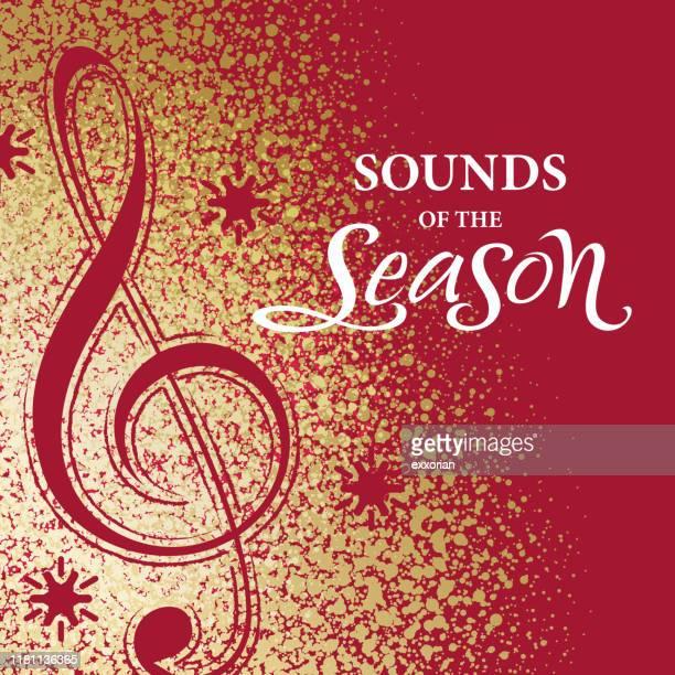 gold dust christmas music - christmas music stock illustrations