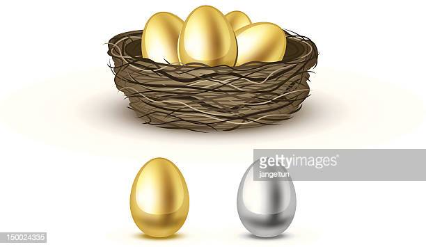 gold eggs - animal egg stock illustrations, clip art, cartoons, & icons