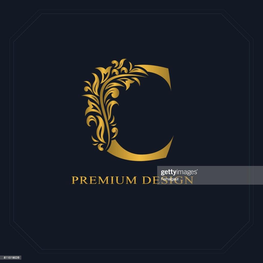 Gold Elegant letter C. Graceful style. Calligraphic beautiful sign. Vintage drawn emblem for book design, brand name, business card, Restaurant, Boutique, Hotel. Vector illustration