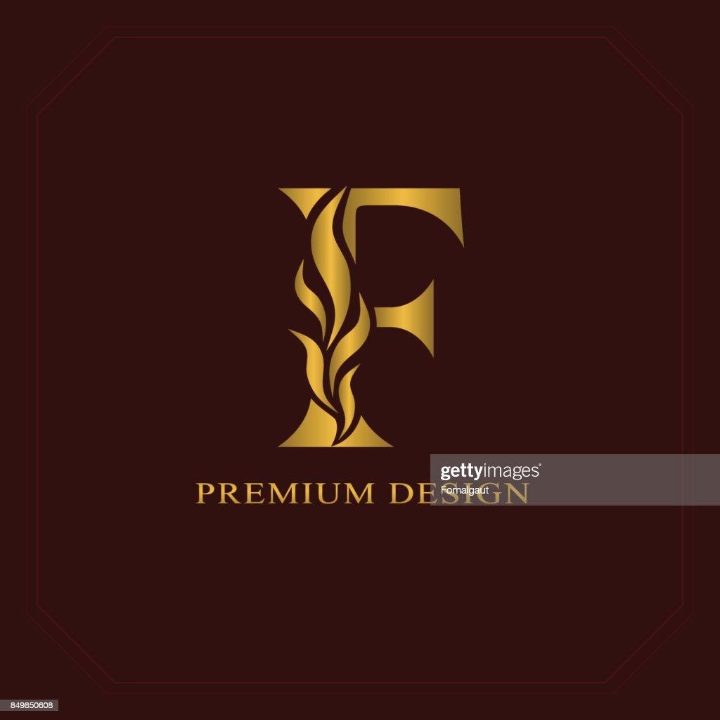 Gold Elegant letter F. Graceful style. Calligraphic beautiful sign. Vintage drawn emblem for book design, brand name, business card, Restaurant, Boutique, Hotel. Vector illustration