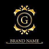 Gold Elegant letter G. Graceful style. Calligraphic beautiful logo. Vintage drawn emblem for book design, brand name, business card, Restaurant, Boutique, Hotel. Vector illustration