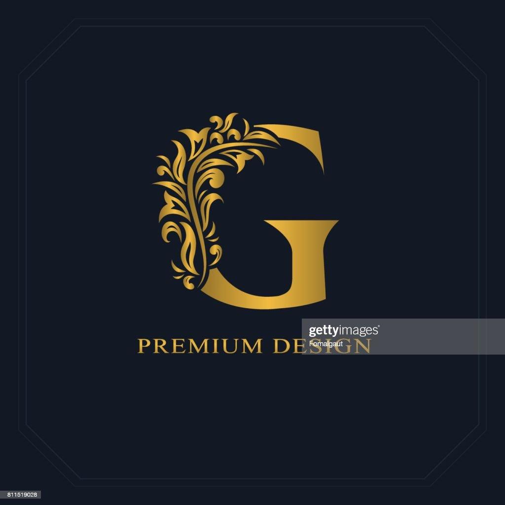 Gold Elegant letter G. Graceful style. Calligraphic beautiful sign. Vintage drawn emblem for book design, brand name, business card, Restaurant, Boutique, Hotel. Vector illustration
