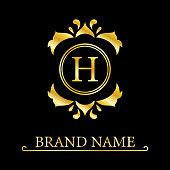 Gold Elegant letter H. Graceful style. Calligraphic beautiful logo. Vintage drawn emblem for book design, brand name, business card, Restaurant, Boutique, Hotel. Vector illustration