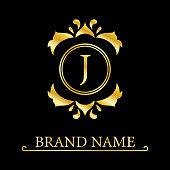 Gold Elegant letter J. Graceful style. Calligraphic beautiful logo. Vintage drawn emblem for book design, brand name, business card, Restaurant, Boutique, Hotel. Vector illustration
