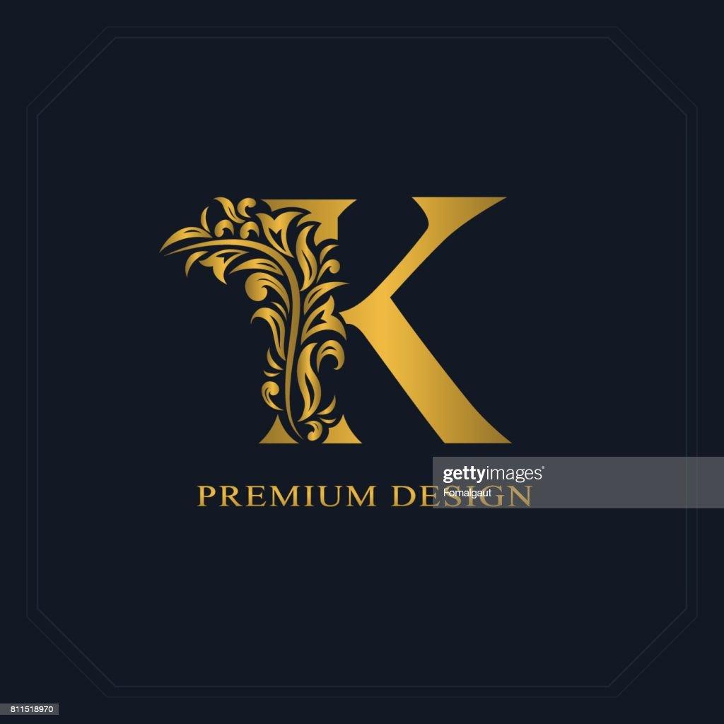 Gold Elegant letter K. Graceful style. Calligraphic beautiful sign. Vintage drawn emblem for book design, brand name, business card, Restaurant, Boutique, Hotel. Vector illustration