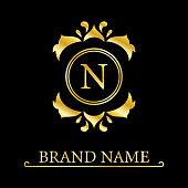 Gold Elegant letter N. Graceful style. Calligraphic beautiful logo. Vintage drawn emblem for book design, brand name, business card, Restaurant, Boutique, Hotel. Vector illustration