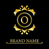 Gold Elegant letter O. Graceful royal style. Calligraphic beautiful logo. Vintage drawn emblem for book design, brand name, business card, Restaurant, Boutique, Hotel. Vector illustration
