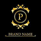 Gold Elegant letter P. Graceful style. Calligraphic beautiful logo. Vintage drawn emblem for book design, brand name, business card, Restaurant, Boutique, Hotel. Vector illustration