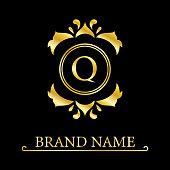 Gold Elegant letter Q. Graceful style. Calligraphic beautiful logo. Vintage drawn emblem for book design, brand name, business card, Restaurant, Boutique, Hotel. Vector illustration