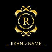Gold Elegant letter R. Graceful royal style. Calligraphic beautiful logo. Vintage drawn emblem for book design, brand name, business card, Restaurant, Boutique, Hotel. Vector illustration