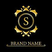 Gold Elegant letter S. Graceful style. Calligraphic beautiful logo. Vintage drawn emblem for book design, brand name, business card, Restaurant, Boutique, Hotel. Vector illustration