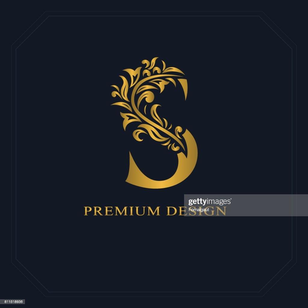 Gold Elegant letter S. Graceful style. Calligraphic beautiful sign. Vintage drawn emblem for book design, brand name, business card, Restaurant, Boutique, Hotel. Vector illustration