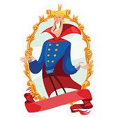 Gold emblem, funny young handsome king