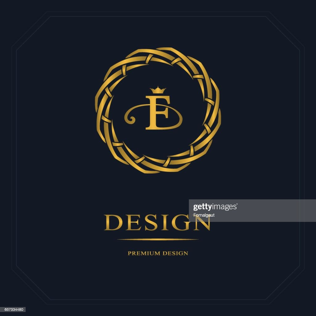 Gold Emblem of the weaving circle. Monogram design elements, graceful template. Simple logo design Letter F for Royalty, business card, Boutique, Hotel, Heraldic, Web design. Vector illustration