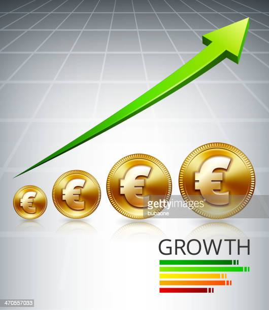 gold euro growth increase - fiscal year stock illustrations