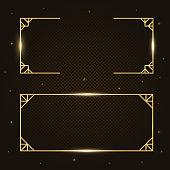 Gold fashion luxury rectangular border, frame, banner set