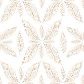 Gold feathers pattern seamless