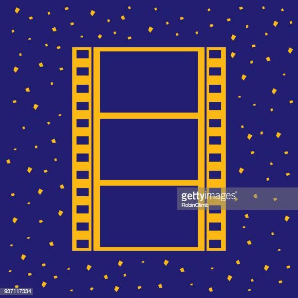 illustrations, cliparts, dessins animés et icônes de icône de bande de film d'or - bleu roi