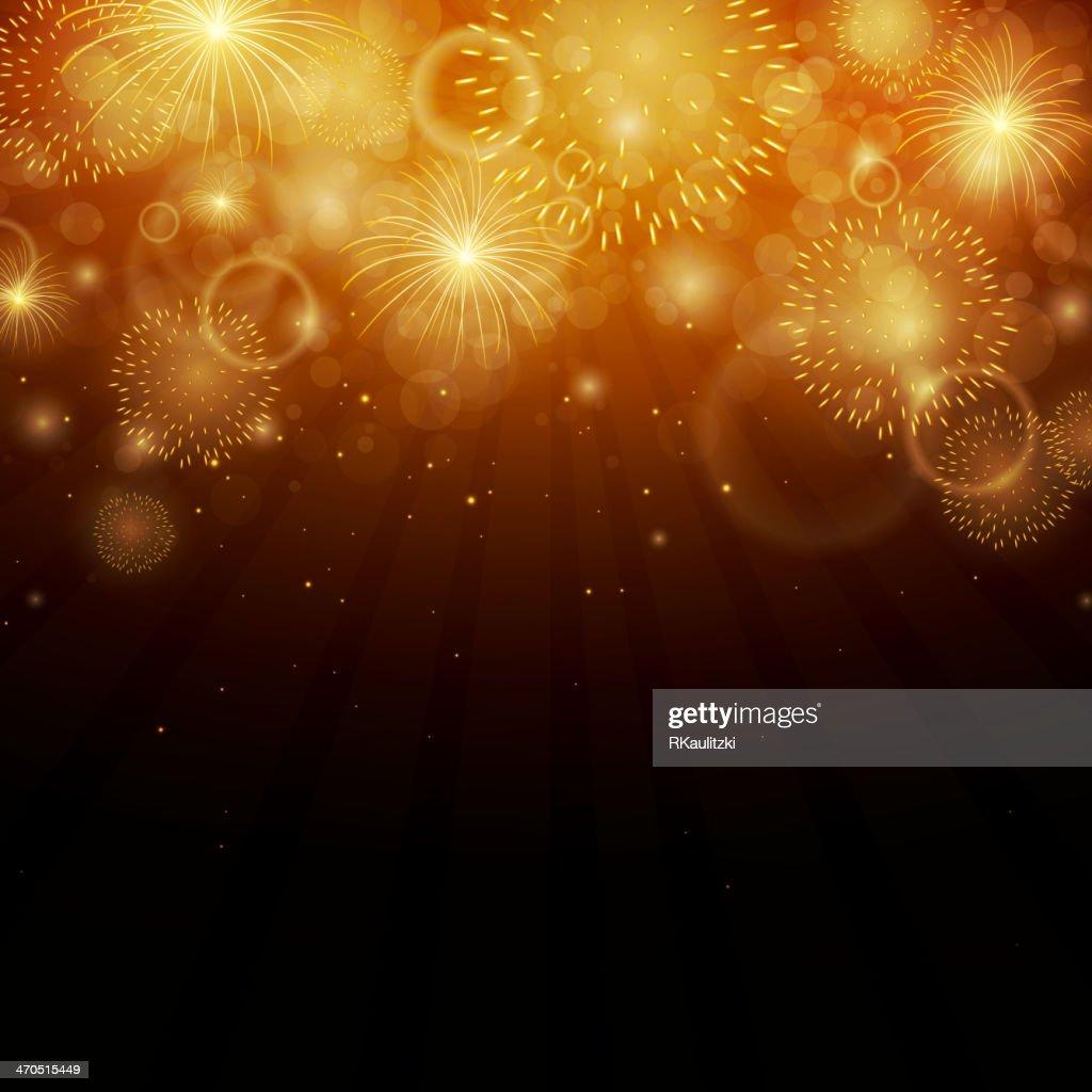 Gold fireworks on a black vector background