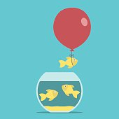 Gold fish, balloon, fishbowl