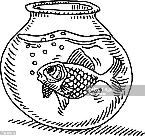 gold fish bowl water drawing - fishbowl stock illustrations, clip art, cartoons, & icons