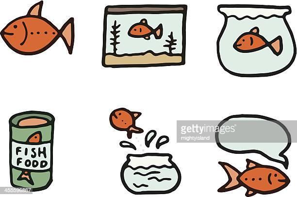 illustrations, cliparts, dessins animés et icônes de or poissons doodle icône set - poisson rouge