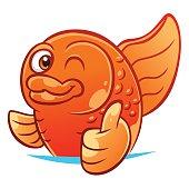 Gold fish gesturing thumb up