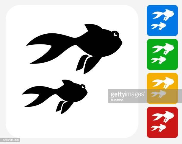 illustrations, cliparts, dessins animés et icônes de poisson d'or à la conception graphique icône - poisson rouge