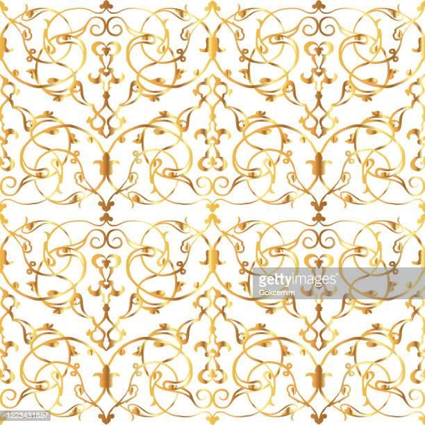 ゴールドフローラルイスラムパターン、抽象的な背景。ラマダングリーティングカード、オスマンイスラムパターンのためのデザイン要素。アダルシア、アラブ文化。イズニク手描きチュー� - アラベスクポジション点のイラスト素材/クリップアート素材/マンガ素材/アイコン素材