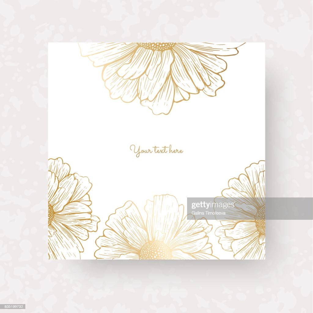 Gold flowers and leaves of peonies. Vector elements for design template. Ornate decor for invitations, wedding greeting cards, certificate, labels.