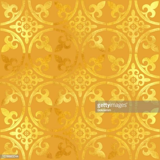ilustrações, clipart, desenhos animados e ícones de folha de ouro pintada com azulejo metálico. padrão de estilo árabe sem emenda. padrão de azulejo vetorial, mosaico floral árabe de lisboa, ornamento de cor dourada sem emendas do mediterrâneo. - cultura portuguesa