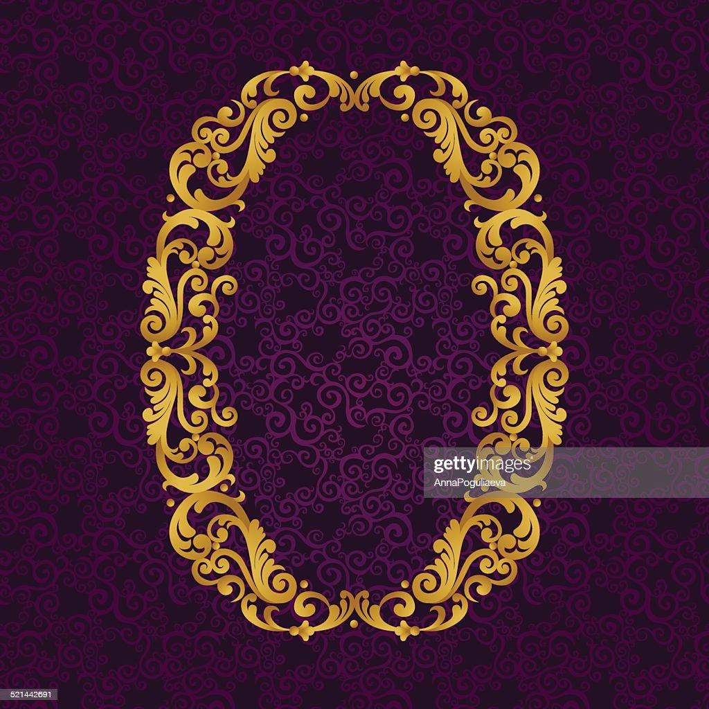 Gold font type letter O, uppercase.