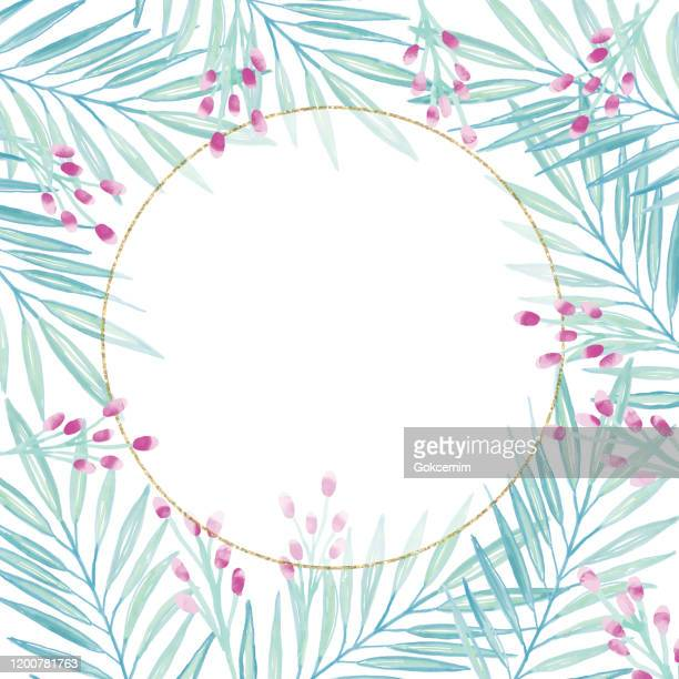 gold frame background with hand painted watercolor delicate leaves and berries . oil, acrylic painting floral pattern. design element for greeting cards and wedding, birthday and other holiday and summer invitation cards background. - flower arrangement stock illustrations