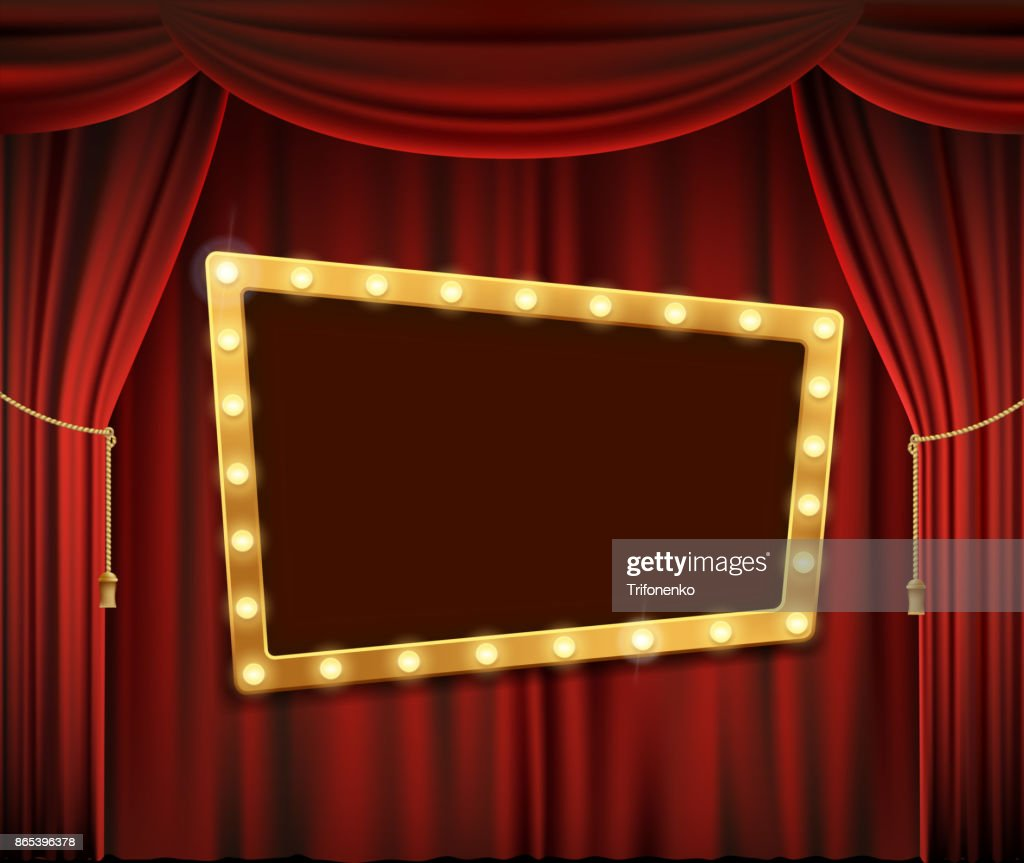 Gold frame on red curtain
